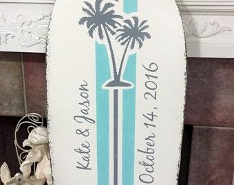Wedding Guest Book - Guest Book Alternative - SURFBOARD SIGN, Wedding Signs, Beach Weddings, Palm Trees, 4 ft tall - 48 x 15
