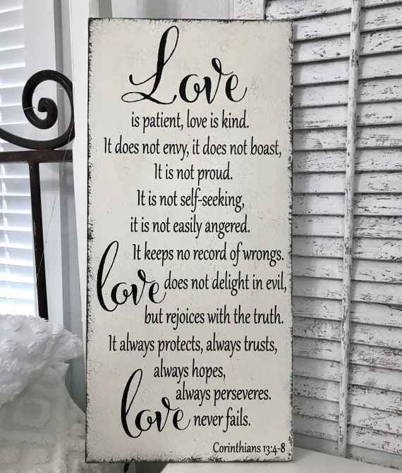 Love is Patient Love is Kind Engraved Whitewash Rustic Look Tabletop Sign Wedding Gift Bride