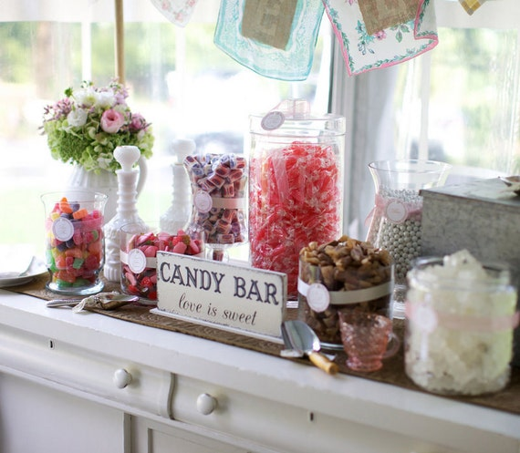 Candy Bar Love is Sweet Candy Bar Signs Wedding Signs Original Design by The Back Porch Shoppe 24 x 12