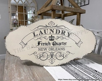LAUNDRY Sign, Laundry Room Sign, French Quarter, New Orleans Sign, 12 x 24