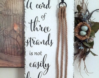 Unity Candle Alternative, CORD of THREE STRANDS Sign, Bride and Groom Signs, Wedding Signs, 12 x 24