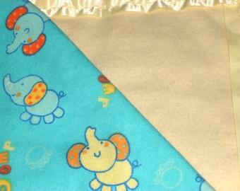 Flannel Blue/Yellow Elephant Baby Blanket