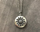 Small Silver Sunflower Locket Mother 39 s Day Gift Vintage Style Bridesmaid Gift Boho Necklace Woodland Silver Flower Keepsake Jewelry Bohemian