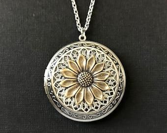 Sunflower XL Locket, Antique Silver, Garden Flower Necklace, Anniversary Gift, Bridesmaid Gift, Photo Locket, Statement Necklace, Long Chain