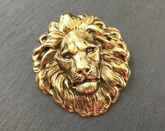 Vintage Porcelain Lion Pin  Brooch