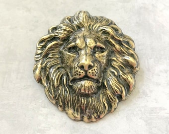 Vintage Lions Head Brooch Pin Lion Head Brooch With Rhinestones and faux pearl Lion Pin Leo the Lion brooch Vintage brooch lion jewelry