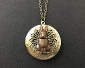 Rabbit Locket Woodland Gifts Hare Collector Baby Children Family Photos Pet Easter Bunny Rabbit Lover Antique Brass Gifts for Best Friend