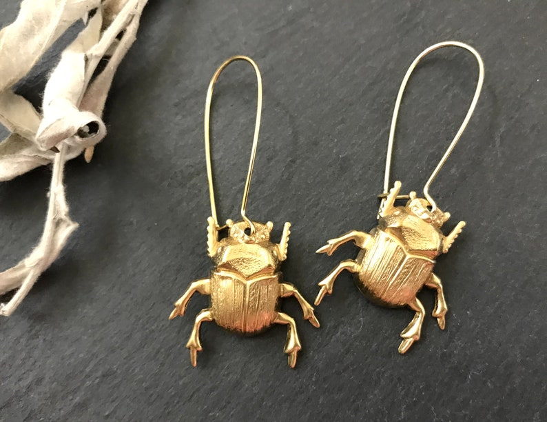 Halloween Earrings Entomologist Gift Goth Scarab Raw Brass Brass Beetle Earrings Spooky Creepy Bugs Raw Brass Insects Gothic Jewelry