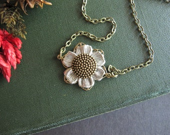 Sunflower Necklace, Boho Wedding, Nature Inspired, Boho, Bohemian Necklace, Woodland Wedding, Flower, Floral, Dainty Necklace, Antique Brass