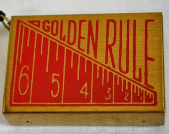 Vintage Golden Rule Matchbox Measuring Tape - Made in Japan
