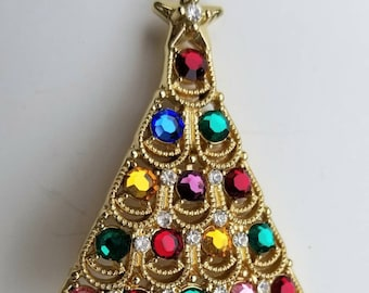 Vintage Rhinestone Christmas Tree Brooch Scalloped, Draped, Multicolored Goldtone Setting, White Rhinestone Star - Featured in Pin Book