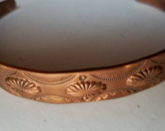 "Vintage Bell Copper Embossed Concho Copper 5"" Cuff Bracelet"