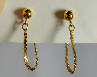 14K Solid Yellow Gold Earrings - Signed ZZ - Pierced Ball and Hoops