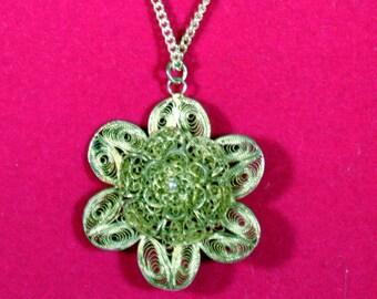 "Vintage Antique Flower Floral Cannetille Filigree Silver Pendant 18"" Chain Necklace"