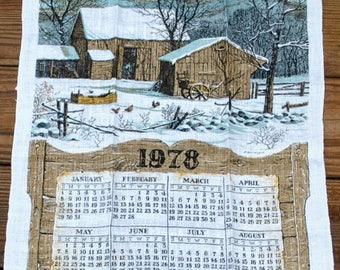 Vintage 1978  Linen Calendar Towel - Barn Snow Taupe and Soft Teal Kitchen Towel