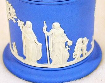 Vintage Blue Wedgwood Jasperware Collection - Tobacco Jar with Lid