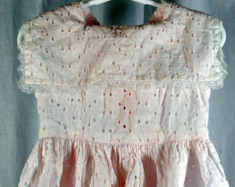 Vintage Toddler or Baby Girls Dress - Pink Eyelet Cotton  - Sailor Style