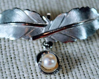 Vintage Sterling Silver Carl Art Cultured Pearl Leaf Pin Brooch