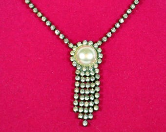 Vintage Rhinestone Necklace with Drop Pendant - Faux Pearl
