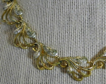 "Designer Sarah Coventry ""Frosted Feathers"" Gold and Silver Link Panel Necklace - Vintage"