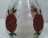 Vintage White House Vinegar Jug Bottle - Crackled Finish with Embossed Flowers - Double Handles - Hand Painted