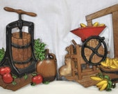 Homco 1978 Metal Wall Plaques, Butter Churn, Corn Shucker, Vintage Lot of 2, Country Decor