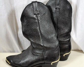 972a230d Black Leather Vintage Cowboy Boots - Men's Size 9-1/2 - Abilene Western -  Toe and Heel Silver Boot Tips