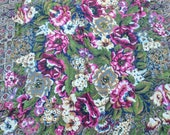 Echo Light Wool Scarf - Dark Colors Navy Maroon Moss Green Gold - Paisley Multicolors Ornate Florals - 45 x 47