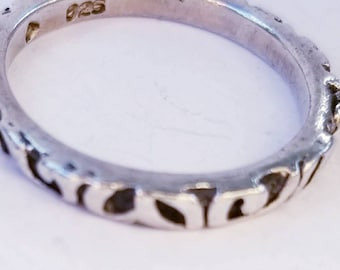 Filigree Thin Ring Band in Sterling Silver - Stamped 925 with an Incised Triangle - Size 8