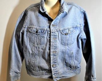 1970's Vintage LEE Denim Trucker Jean Jacket Men's Large Blue Patd 153438