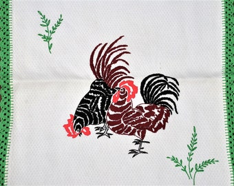 Dresser Scarf, Embroidered Rooster and Chicken, Red and Black With Crocheted Green Cotton Lace Edging