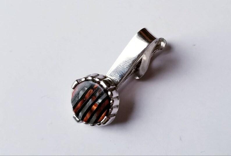 Tie Bar Thermoset Guilloche Vintage Men/'s Tie Clip Round Pearlized Gray Brown Striped