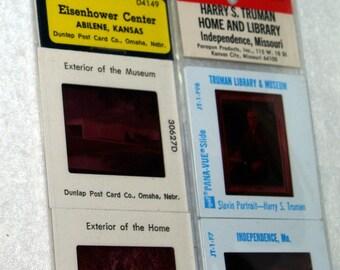 Four Groups of Five Souvenir Travel Slides - Truman Home and Library, Eisenhower Center, 1982 World's Fair