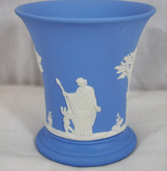 Vintage Wedgwood Jasperware Vase Blue With White Trees Etsy