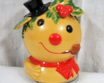 Vintage Frosty the Snowman Head Music Box - Molded Hard Plastic - Musical Snowman - Music Works, Plays Frosty the Snowman, Made in Hong Kong