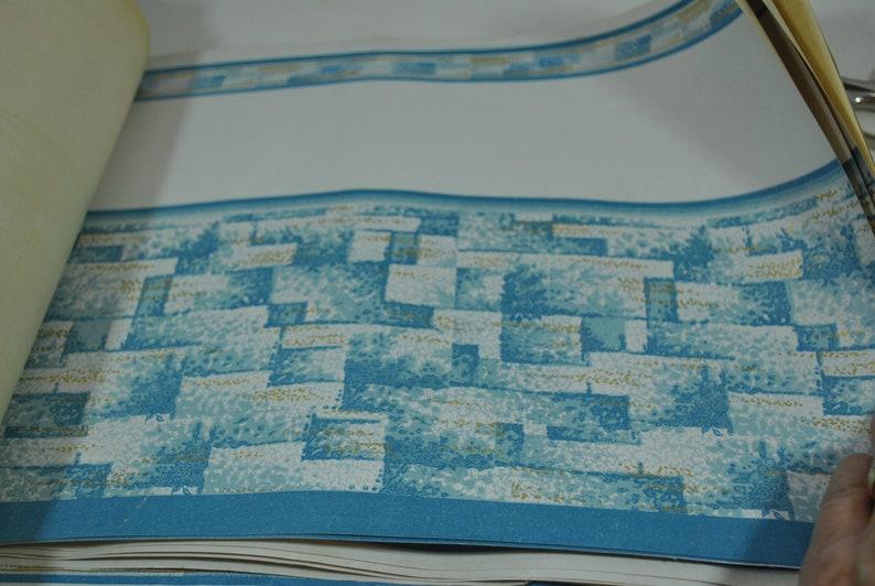 Blue White Gold Flecks in a Basketweave Pattern Large Lot of Vintage Wallpaper Border Style Antique Ephemera 1950s