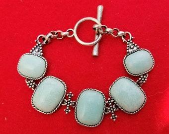 Lucky Brand Turquoise Link Bracelet, Faux Turquoise Cab, Boho Chic Bracelet