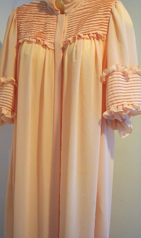 Bonnie Strauss Fancy Peach Maxi Robe, High Collar,