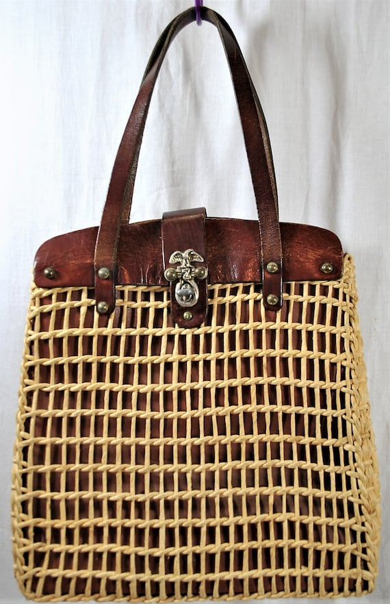 Vintage 60s Woven Straw and Leather Top Handle Tot