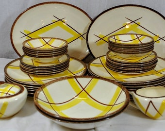 Large Dinnerware Set - Vintage Santa Monica - Plaid Yellow and Brown - Total of 45 Pieces - Knowles & Plaid dinnerware | Etsy
