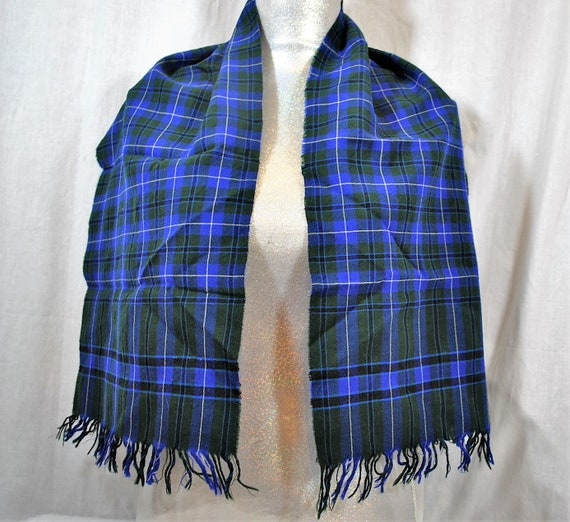 Vintage Botany Men's Neck Scarf Wool Plaid