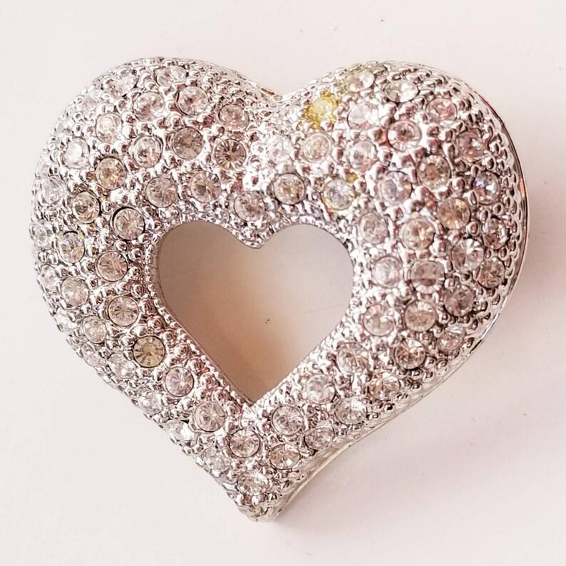 Vintage Heart Rhinestone Brooch