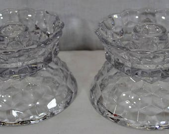 Pair of Fostoria American Hurricane Lamps Candlestick Bases - Hard to Find