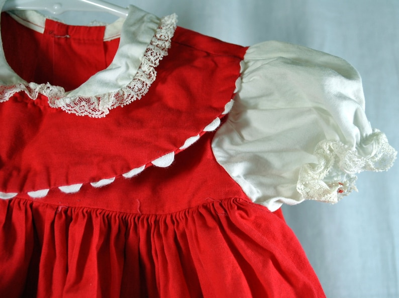 Toddler or Baby Girls Christmas  Dress Jumper  Vintage 1950s Holiday Dress Outfit