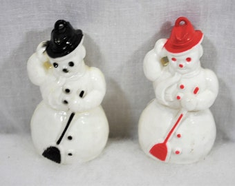 Vintage Frosty Snowman Ornaments, Brooms and Top Hats, Lot of 2 Hard Plastic, Both White, One with Red and One with Black