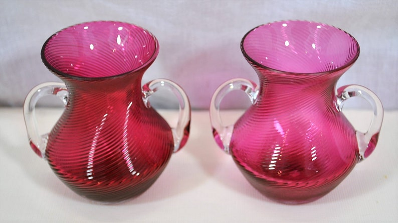 Pair of Swirl Cranberry Threaded Vases Made in Germany Clear Applied Double Handles