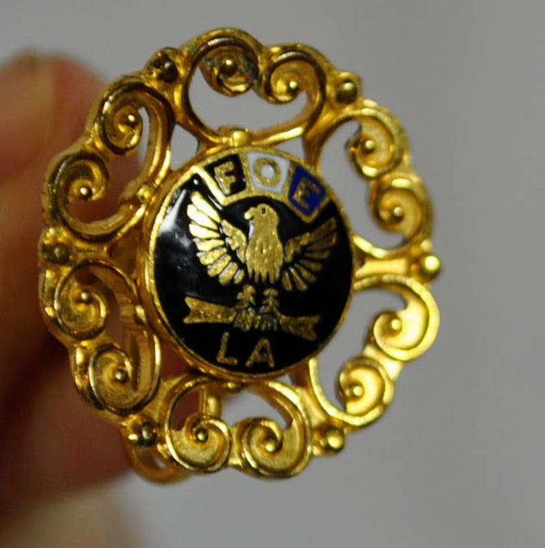 LA Chapter Gold and Black Screw Back Fraternal Order of Eagles Earrings