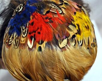 Vintage 1950s Pheasant Feather Cap Head Hugger Hat