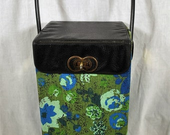 Vintage Knitting Caddy in Mod Blue and Green Fabric with Faux Leather Top and Handle