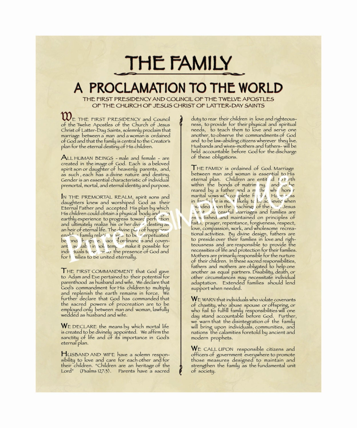 Family Proclamation Digital File - LDS Proclamation to the World - The  Family